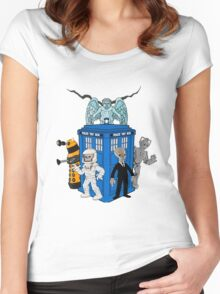 doctor who daleks cyberman silence tardis Women's Fitted Scoop T-Shirt