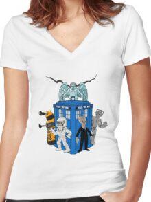 doctor who daleks cyberman silence tardis Women's Fitted V-Neck T-Shirt