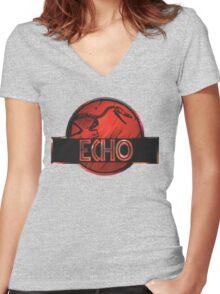 jurassic world echo raptor Women's Fitted V-Neck T-Shirt