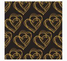 Brown Heart Pattern One Piece - Short Sleeve