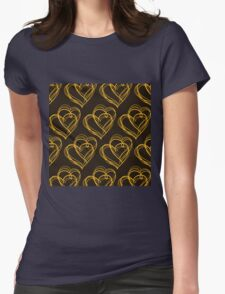 Brown Heart Pattern Womens Fitted T-Shirt