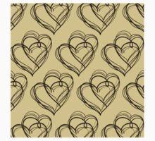 Brown Heart Pattern Kids Tee