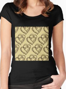 Brown Heart Pattern Women's Fitted Scoop T-Shirt