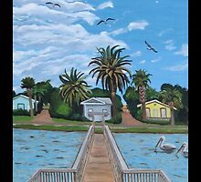 """Our Fishin' Spot in Rockport, Texas."" by amyglasscockart"