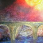 Mystical bridge - landscape -natural world - macro photo and oils by alyona firth