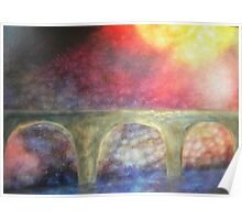Mystical bridge - landscape -natural world - macro photo and oils Poster