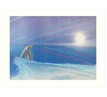 Polar bear - white snow - blue sky - natural world - macro photography prints Art Print