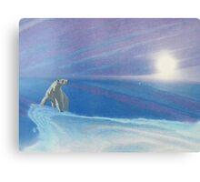 Polar bear - white snow - blue sky - natural world - macro photography prints Canvas Print