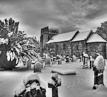 St Cuthbert's in the snow B&W by Tom Gomez