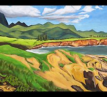 """Lithified Sandstone Cliffs, Kauai."" by amyglasscockart"