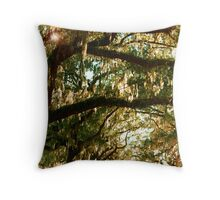 Branches - Leaves - Moss & Sky Throw Pillow