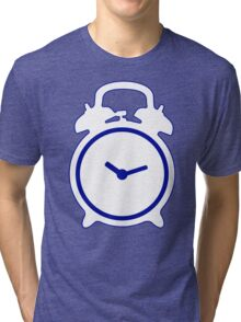 Alarm Clock and Indigo Cat Background Tri-blend T-Shirt