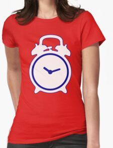 Alarm Clock and Indigo Cat Background Womens Fitted T-Shirt