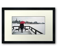 Copenhagen - Red Umbrella Framed Print