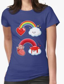 Hearts and Rainbows Morbid Kawaii Graphic Tee Womens Fitted T-Shirt