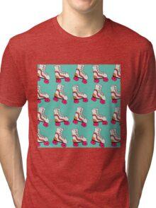 Turquoise Vintage Retro Roller Blade Tri-blend T-Shirt