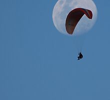 Big Moon, Little Paraglider. by shortshooter-Al