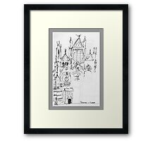 Italy- An early Pen and Ink of the Cathedral Facade in Siena Framed Print