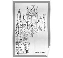Italy- An early Pen and Ink of the Cathedral Facade in Siena Poster