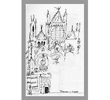 Italy- An early Pen and Ink of the Cathedral Facade in Siena Photographic Print