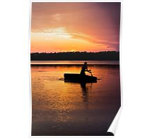 Boating at Sunset Poster