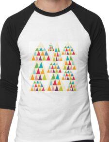 Geometric Multicolor Triangle Pattern Men's Baseball ¾ T-Shirt