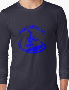 Aquaholic kayak guy classic round geek funny nerd Long Sleeve T-Shirt