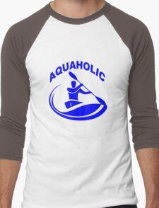 Aquaholic kayak guy classic round geek funny nerd Men's Baseball ¾ T-Shirt