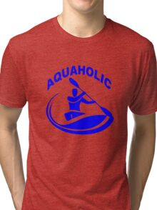 Aquaholic kayak guy classic round geek funny nerd Tri-blend T-Shirt