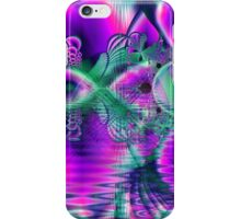 Teal Violet Crystal Palace, Abstract Fractal Cosmic Heart iPhone Case/Skin