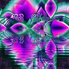 Teal Violet Crystal Palace, Abstract Fractal Cosmic Heart by Diane Clancy