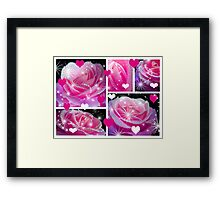 Pink Roses & Collage. Framed Print