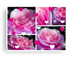 Pink Roses & Collage. Canvas Print