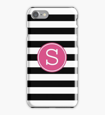 Monogram Letter S with Modern Stripes iPhone Case/Skin
