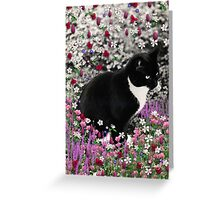 Freckles in Flowers II - Tuxedo Cat Greeting Card