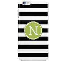 Monogram Letter N with Modern Stripes iPhone Case/Skin