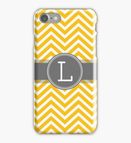 Monogram Letter L with yellow gray chevrons iPhone Case/Skin