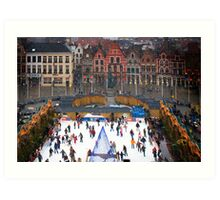 Winter Skaters Art Print