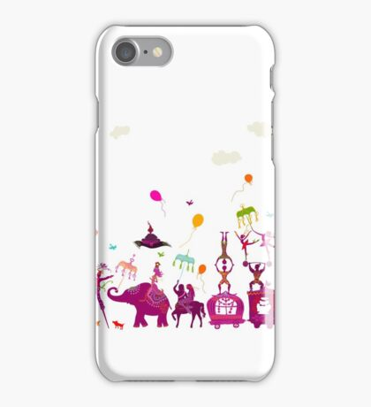 colorful circus carnival traveling in one row on white background iPhone Case/Skin