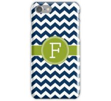 Monogram Letter F - Navy and Lime Chevrons iPhone Case/Skin