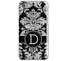 Monogram Letter D with Damask Pattern iPhone Case/Skin