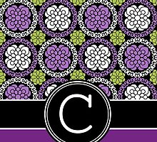 Monogram Letter C with Funky Floral Pattern by Amy Marsh