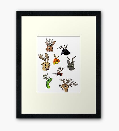 ANTLERS! ANTLERS ON EVERYTHING! Framed Print