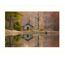 Cabin by the Lake in Autumn Art Print