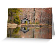 Cabin by the Lake in Autumn Greeting Card