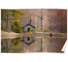 Cabin by the Lake in Autumn Poster