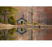 Cabin by the Lake in Autumn Photographic Print