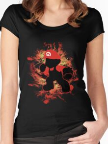 Super Smash Bros Mario Silhouette Women's Fitted Scoop T-Shirt