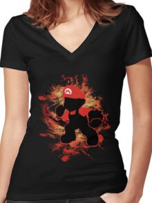 Super Smash Bros Mario Silhouette Women's Fitted V-Neck T-Shirt