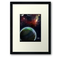 Flaming Asteroid in Space Framed Print